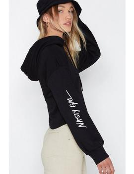 Nasty Gal Word On The Street Cropped Hoodie by Nasty Gal