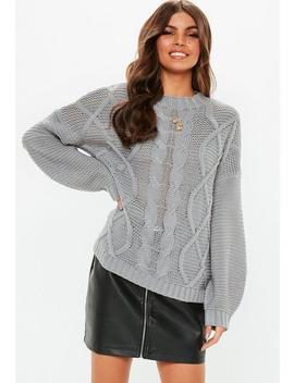 Grey Cable Knitted Jumper by Missguided