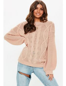 Nude Cable Knitted Jumper by Missguided