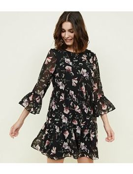 Apricot Black Floral Bell Sleeve Mini Dress by New Look