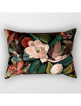 Floral And Birds Xiv Rectangular Pillow by