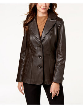 V Stitched Leather Jacket by Jones New York