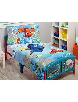 Disney Finding Dory 4 Piece Toddler Bedding Set, Blue/Orange/Yellow by Disney