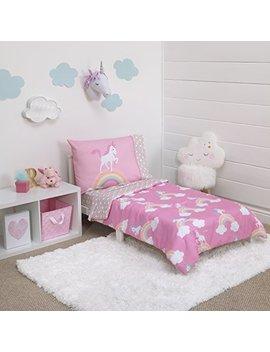 Little Tikes Rainbow Unicorn 4 Piece Toddler Bedding Set, Pink by Little Tikes
