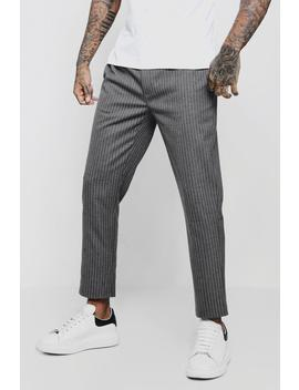 Pinstripe Smart Jogger Trouser by Boohoo