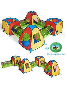 Utex 8 In 1 Pop Up Children Play Tent House With 4 Tunnel, 4 Tents For Boys, Girls, Babies And Toddlers For Indoor And Outdoor Use by Utex