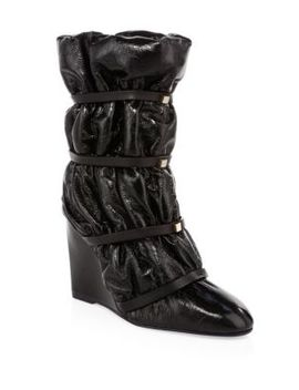 Duvet Studded Leather Wedge Boots by Stuart Weitzman