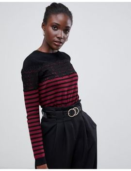 Warehouse Jumper With Lace Panel In Black And Red Stripe by Warehouse