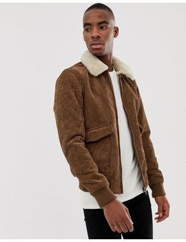 Pull&Bear Cord Jacket With Faux Fur Collar In Tan by Pull&Bear