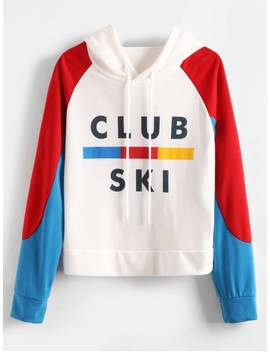 Raglan Sleeve Pullover Graphic Hoodie   Multi L by Zaful