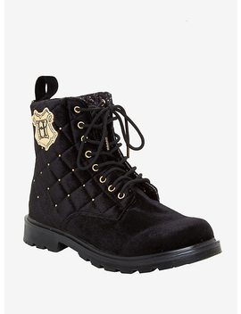 Harry Potter Velvet Quilted Hogwarts Combat Boots by Hot Topic