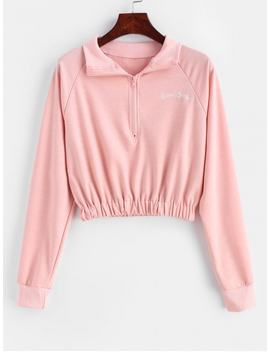 Letter Embroidered Raglan Sleeve Zipper Sweatshirt   Rose Xl by Zaful