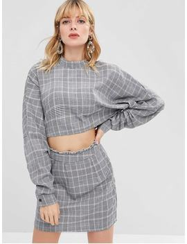 Zaful Plaid Crop Top And Skirt Set   Gray S by Zaful