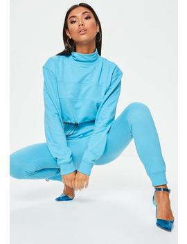 Blue Elastic Cuff Joggers by Missguided