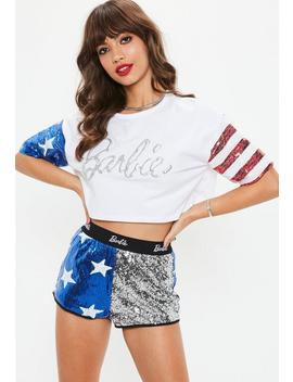 Barbie X Missguided White Glitter Logo American Sequin Top by Missguided