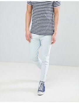 Asos Design   Jeans Skinny  Blu Medio Délavé Con Cuciture Ritorte E Fondo Grezzo by Asos