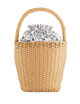 Lily Woven Leather Top Handle Basket Bag by Edie Parker