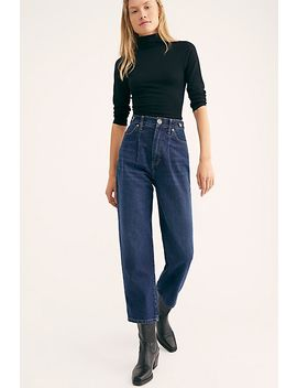 Pleated Straight Leg Jeans by Free People