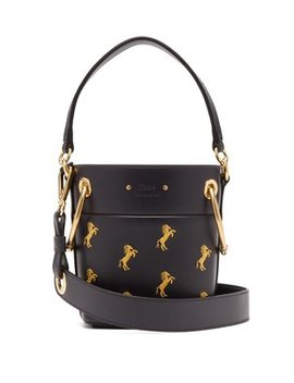 Roy Little Horse Embroidered Leather Bucket Bag by Chloé