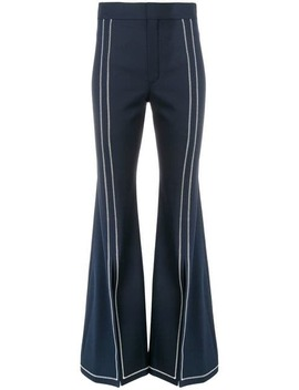 Stitched Trim Flared Trousers by Chloé