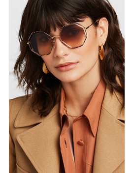 Poppy Octagon Frame Snake Effect Acetate And Gold Tone Sunglasses by Chloé