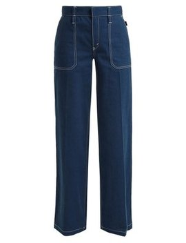 Contrast Stitching Wide Leg Denim Jeans by Chloé