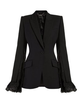 Lace Trimmed Single Breasted Blazer by Alexander Mc Queen
