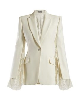 Lace Trimmed Single Breasted Crepe Blazer by Alexander Mc Queen