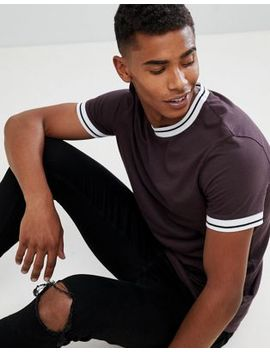 Asos Design T Shirt With Tipped Neck In Brown by Asos Design