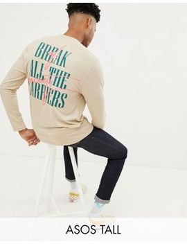 Asos Design Tall Relaxed Long Sleeve Graffiti Back Print And Tipped Rib by Asos Design