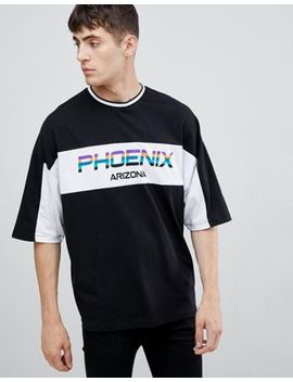 Asos Design Oversized T Shirt With Half Sleeve City Text And Tipped Rib by Asos Design