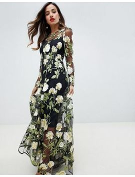 Asos Edition Floral Embroidered Maxi Dress With Cutabout Skirt by Asos Edition
