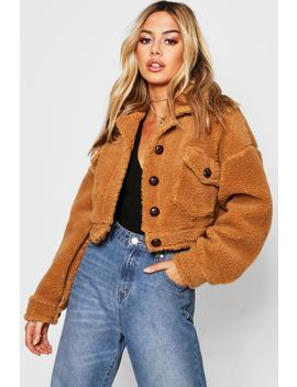 Petite Cropped Teddy Trucker Jacket by Boohoo