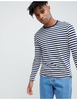 Asos Design Stripe Long Sleeve T Shirt In Navy And White by Asos Design