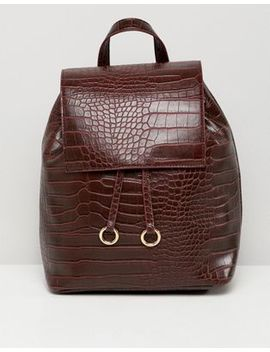 Asos Design Backpack With Ring Toggle Detail In Croc by Asos Design