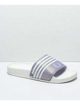 Gigi Laurel White & Lavender Slide Sandals by Gigi Sandals