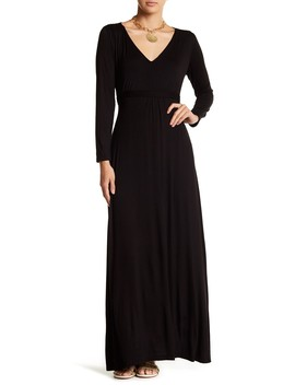 Enchanting V Neck Long Sleeve Maxi Dress (Plus Size Available) by 24/7 Comfort