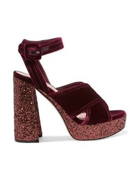Glitter Trimmed Velvet Platform Sandals by Miu Miu
