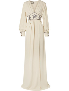 Crystal Embellished Wrap Effect Georgette Gown by Gucci