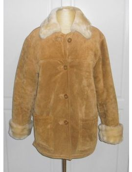 Dennis Basso Camel Suede Leather Jacket Coat With Cream Faux Fur Lining Xs by Dennis Basso