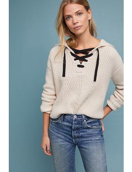 Lace Up Knit Hoodie by Scotch & Soda