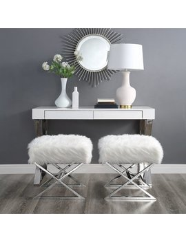 Molly Grey Faux Fur Ottoman   Stainless Steel | Chrome Legs | Modern | By Inspired Home by Inspired Home