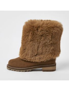 Brown Turn Down Faux Fur Boots by River Island