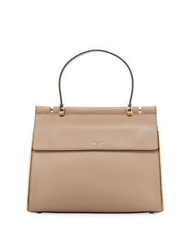 Jasmine Medium Leather Satchel Bag by Michael Michael Kors