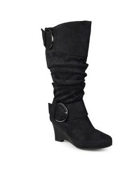 Women's Wide Calf Buckle Slouch Wedge Knee High Boot by Brinley Co.