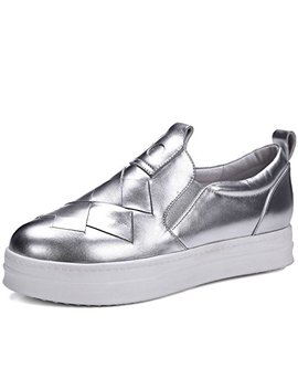 Vimisaoi Women's Genuine Leather Platform Diamond Split Upper Hidden Heel Fashion Slip On Sneakers Flats Shoes by Vimisaoi
