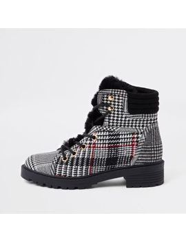 Grey Check Faux Fur Tongue Lace Up Boots by River Island