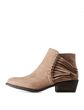 Bamboo Faux Suede Fringe Booties by Charlotte Russe