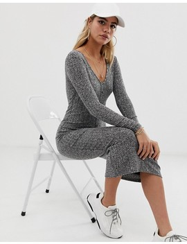 Asos Design Marl Rib Button Through Midi Dress by Asos Design
