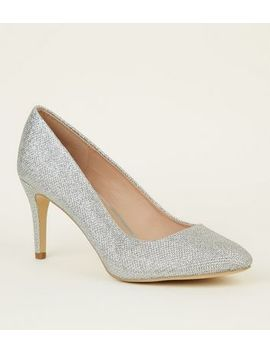 Silver Glitter Round Toe Courts by New Look